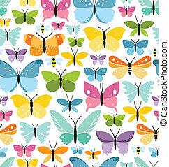 színes, motívum, seamless, pillangók, sors, móka