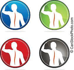 színes, oszlop, designs., gyűjtés, aláír, gerinc-, egészség, emberi