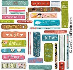 színes, rajz, gyűjtés, előjegyez, könyvtár