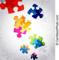 színes, rejtvény, alakít, vektor, tervezés, elvont