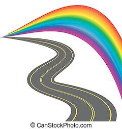 színes, sárga, stilizált, mintázat, rainbow., ábra, hátráló, távolság., út
