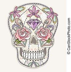 színes, skull., csinos, koponya, mexikói