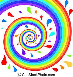 színes, spirál, szivárvány, loccsan, háttér.