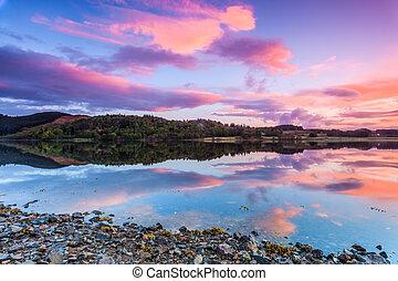 színes, tó, napkelte