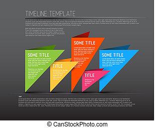 színes, timeline, sötét, infographic, sablon, jelent