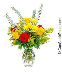 színes, váza, elszigetelt, csokor, egyezség, white., virág