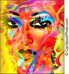 színes, woman's, kivonat arc