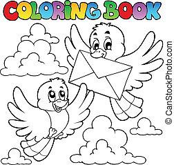 színezés, boríték, könyv, madarak