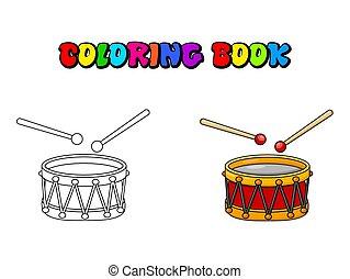színezés, dobol, jelkép, elszigetelt, apródok, tervezés, háttér, fehér, karikatúra, ikon