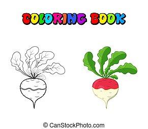 színezés, elszigetelt, könyv, fehér répa, háttér, tervezés, fehér, karikatúra, ikon