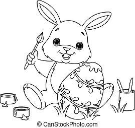 színezés, festmény, nyuszi, húsvét, oldal, tojás