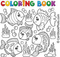 színezés, fish, 1, téma, könyv, különféle