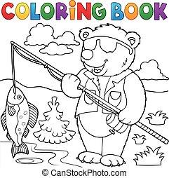 színezés, halász, könyv, hord