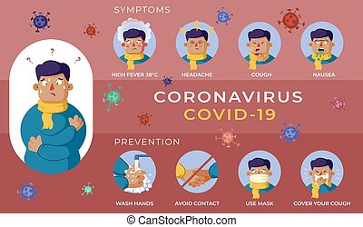 színezés, infographics, megelőzés, vírus, structure., tünetek, covid-19, bekezdések, piros