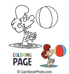 színezés, játék, víz, labda, leány, karikatúra, oldal