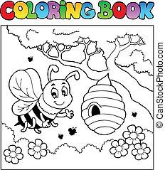 színezés, kép, rovar, téma, könyv, 4