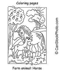 színezés, ló, vektor