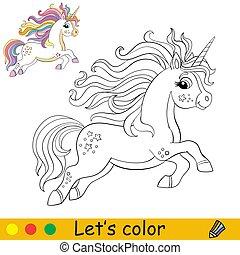színezés, sörény, karikatúra, egyszarvú, futás, szivárvány, farok