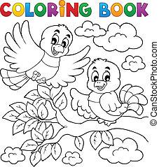 színezés, téma, 2, könyv, madár