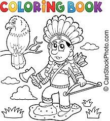 színezés, téma, indiai, könyv