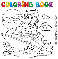 színezés, víz, téma, 2, sport, könyv