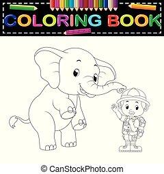 színezés, zookeeper, könyv, elefánt