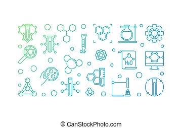 színezett, ábra, vektor, kémia, elméleti, áttekintés