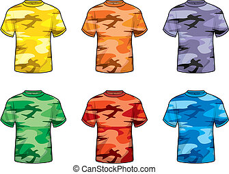 színezett, álcáz, ing