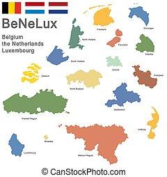színezett, benelux-, országok
