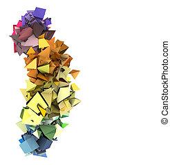 színezett, elvont, szivárvány, hegyes, 3, elektromos, alakít