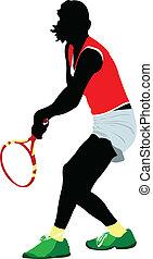 színezett, ember, vektor, player., tenisz