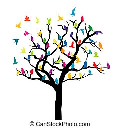 színezett, fa, madarak, fehér, background.eps