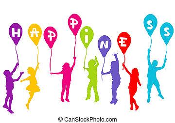 színezett, körvonal, birtok, léggömb, gyerekek, boldogság