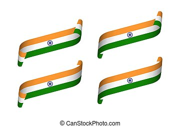 színezett, modern, gyeplő, elszigetelt, india, állhatatos, indiai, vektor, négy, lobogó, háttér, fehér