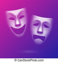 színházi, vígjáték, tragédia álarc