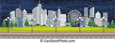 színhely, éjszaka, táj, város