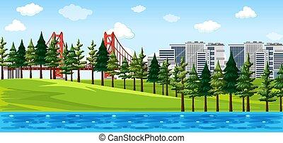 színhely, dísztér város, természet parkosít