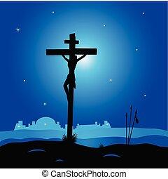 színhely, krisztus, -, kereszt, jézus, kálváriadomb, keresztre feszítés