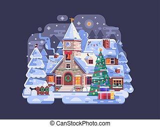 színhely, templom, falu, karácsony, éjszaka, ünnepek