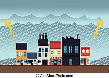 színhely, város, cserél, hatás, scape, elektromos, klíma, megrohamoz