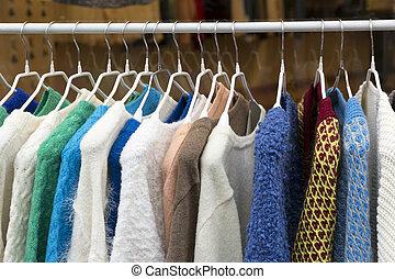 színpompás, pulóver, állvány, öltözék