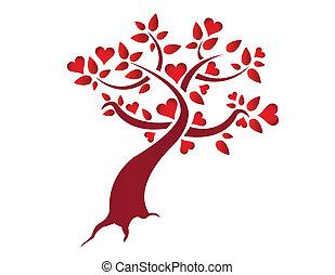 szív, ábra, fa