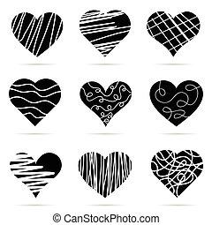 szív, állhatatos, fekete, ábra, ikon