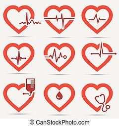 szív, állhatatos, ikon
