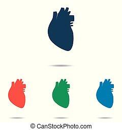 szív, állhatatos, lakás, egyszerű, -, elszigetelt, háttér, vektor, tervezés, emberi, fehér, ikon
