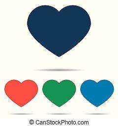 szív, állhatatos, lakás, egyszerű, -, elszigetelt, háttér, vektor, tervezés, fehér, ikon