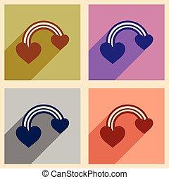 szív, állhatatos, szövedék icons, hosszú, lakás, szivárvány, árnyék