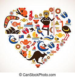 szív, állhatatos, szeret, ikonok, -, ausztrália, vektor