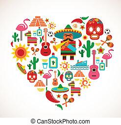 szív, állhatatos, szeret, ikonok, mexikó, -, vektor