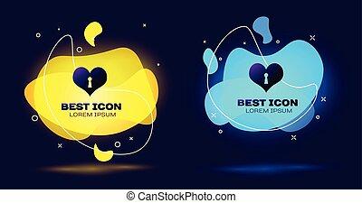 szív, állhatatos, szeret, kulcslyuk, folyékony, isolated., jelkép, heart., ábra, szín, cégtábla., vektor, fekete, shapes., bezárt, geometriai, elvont, ikon